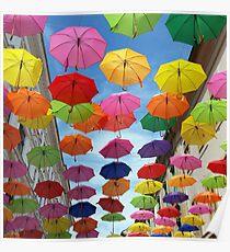 Roof of umbrellas Poster