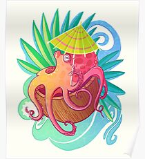 Octopus on the Beach Poster