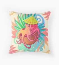 Octopus on the Beach Throw Pillow