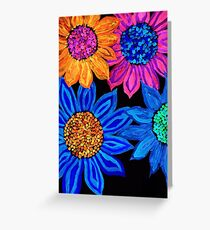 Neon sunflowers Greeting Card