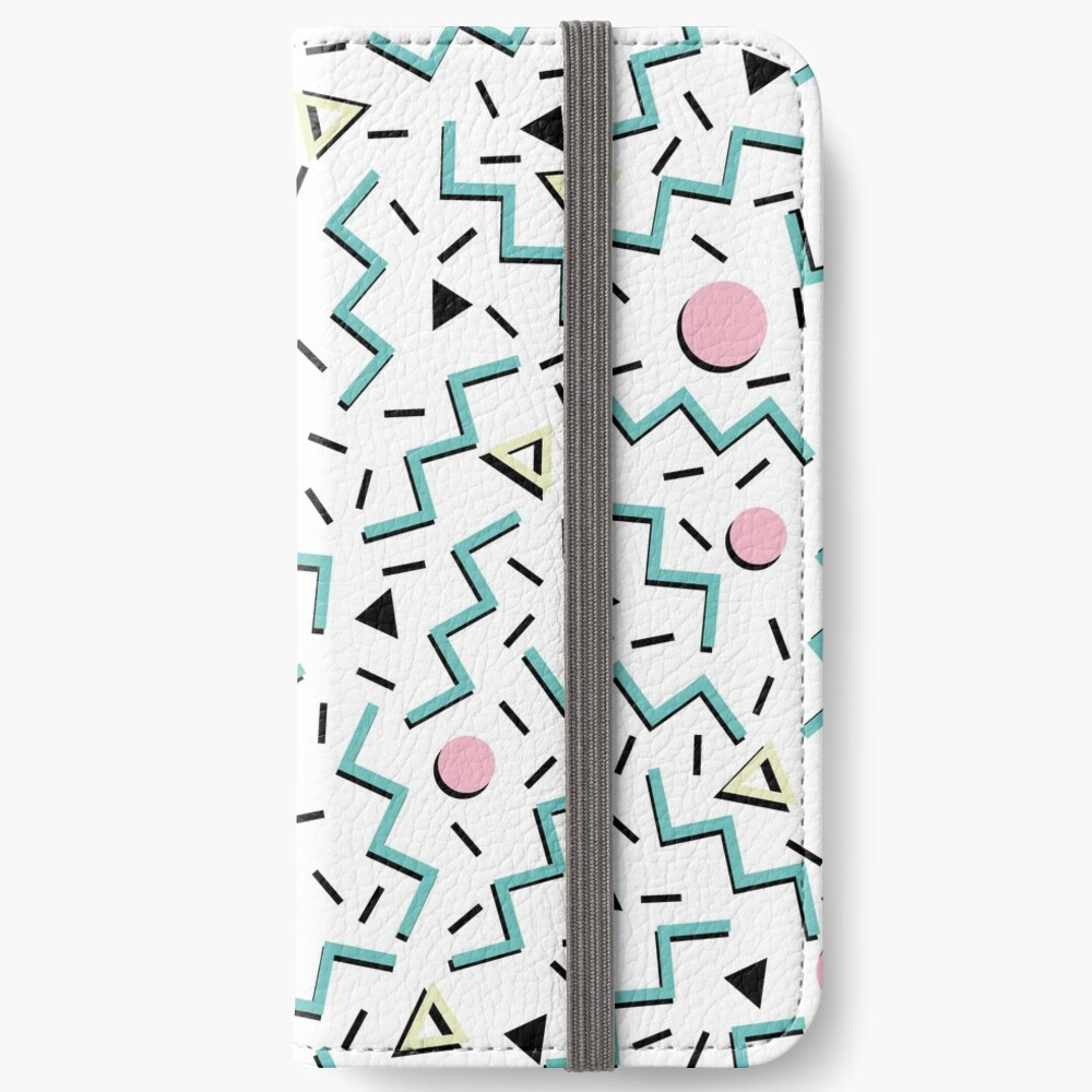 Back to the 80's eighties, funky memphis pattern design iPhone Wallet