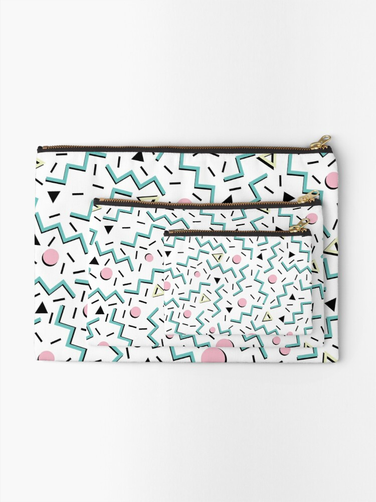 Alternate view of Back to the 80's eighties, funky memphis pattern design Zipper Pouch