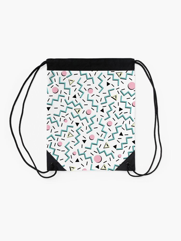 Alternate view of Back to the 80's eighties, funky memphis pattern design Drawstring Bag
