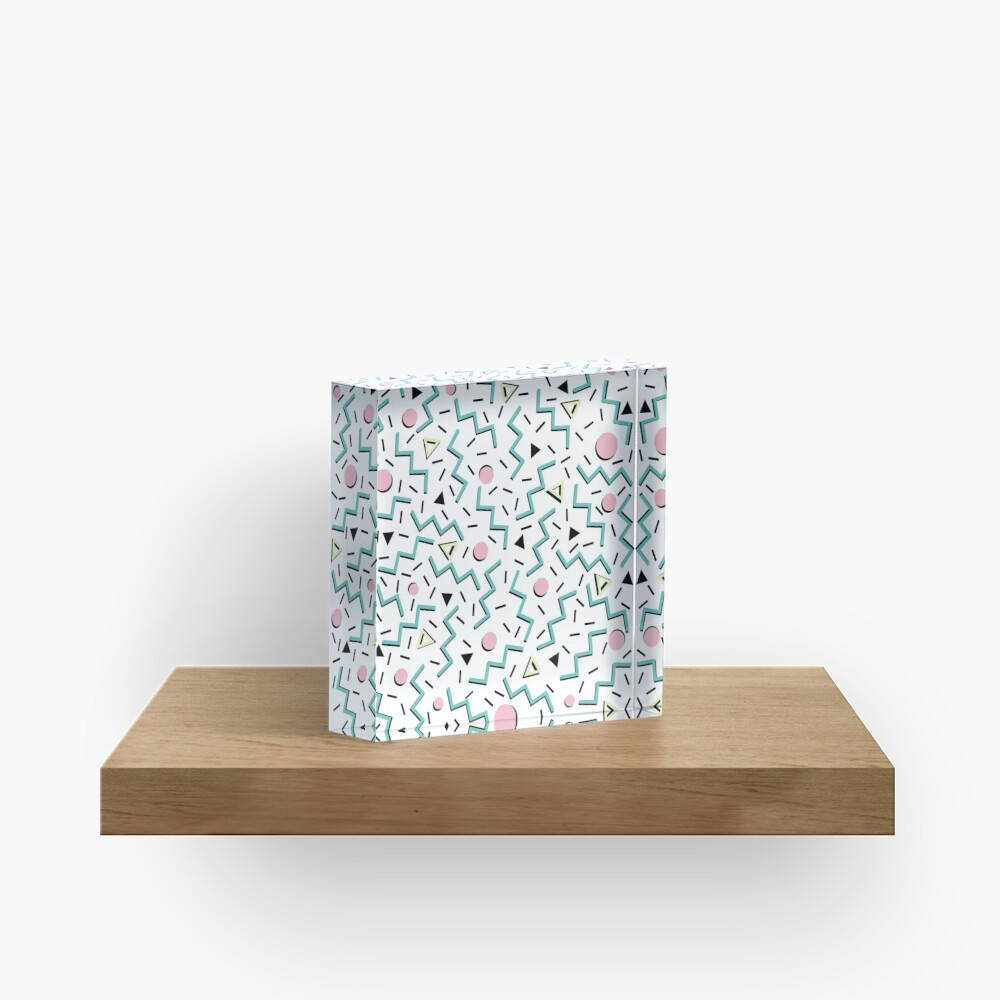 Back to the 80's eighties, funky memphis pattern design Acrylic Block