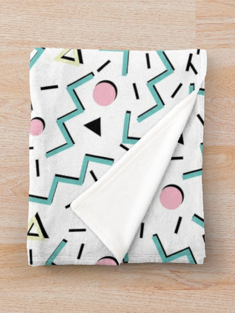 Alternate view of Back to the 80's eighties, funky memphis pattern design Throw Blanket