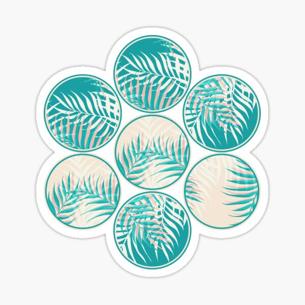 Cyan Tropical Coins #redbubble #decor #buyart Sticker