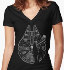 The Falcon, Han Solo and Chewy  Women's Fitted V-Neck T-Shirt