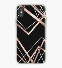 Rosen-Goldschwarz-lineares Dreieck-Zusammenfassungs-Muster iPhone-Hülle & Cover