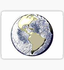 Planet earth (American continent view - comic-style) Sticker