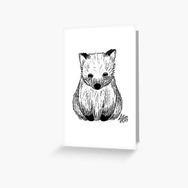 Wombat black - white Greeting Card
