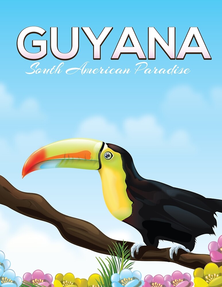 Guyana South american paradise travel poster by vectorwebstore