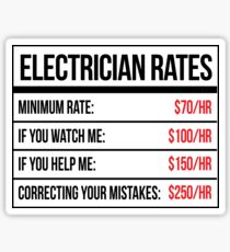 Electrician Rates Humor Sticker