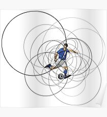 Abstract soccer or football player with ball Poster