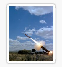 A MIM-104 Patriot anti-aircraft missile is fired during a training exercise. Sticker