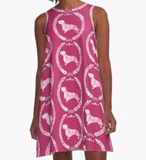 Dachshund Wire Camo Rose A-Line Dress