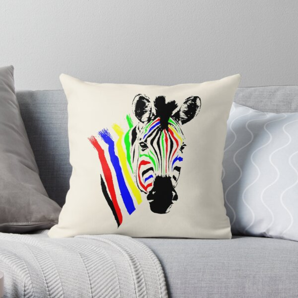 Brightly Colored Zebra | African Wildlife Throw Pillow