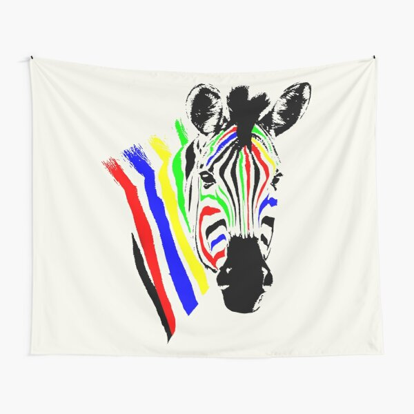 Brightly Colored Zebra   African Wildlife Tapestry