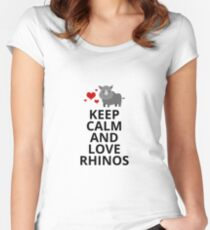 Keep Calm and Love Rhinos - Rhino Rhinoceros Gift and Apparel Women's Fitted Scoop T-Shirt
