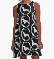 Dachshund Wire Camo White A-Line Dress