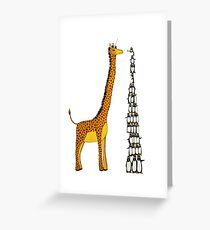 Who is Taller Unicorn Giraffe or Penguin? Greeting Card