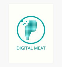 Digital Meat Logo With Text Art Print