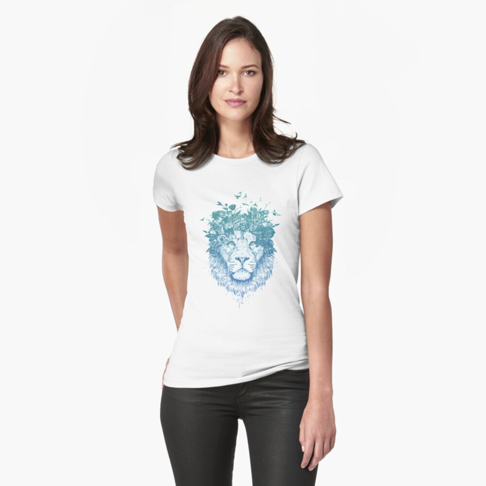 Floral lion Fitted T-Shirt