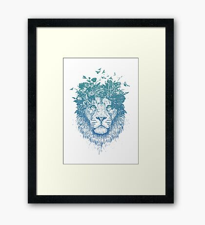 Floral lion Framed Print