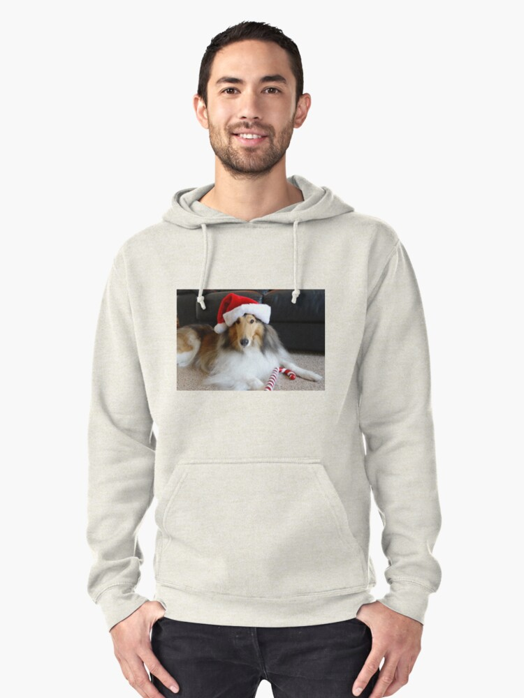 Christmas Collie Pullover Hoodie Front