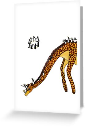 Giraffe Slide Penguins Playing by Jean Rim