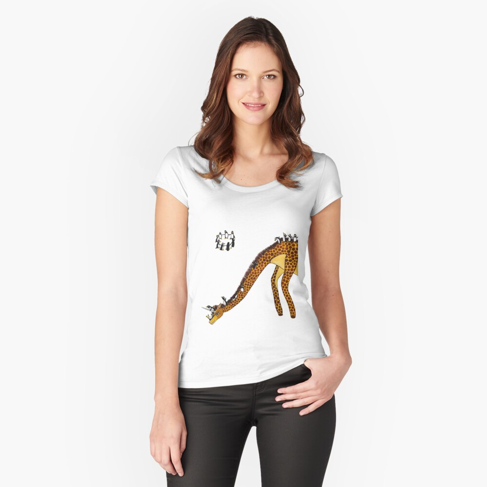 Giraffe Slide Penguins Playing Women's Fitted Scoop T-Shirt Front