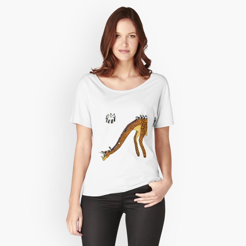 Giraffe Slide Penguins Playing Women's Relaxed Fit T-Shirt Front