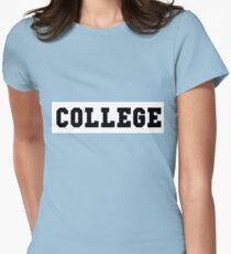 College Black Lettering Womens Fitted T-Shirt