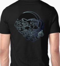 Antique style cartography Boreas wind icon. Male head resting on a curly ornate cloud and blowing wind . Decorative element for tattoo textile prints. Unisex T-Shirt