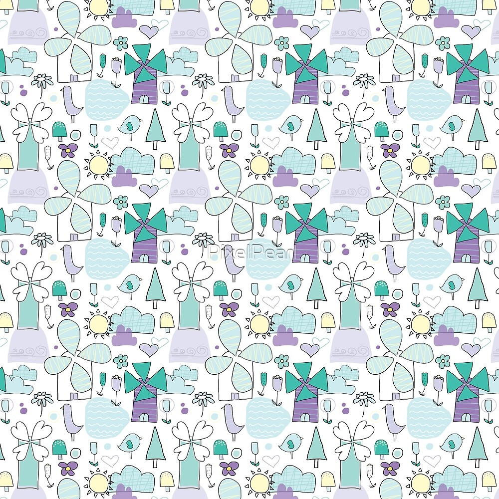 Whimsical Windmill Pattern by PixelPearl
