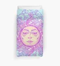 Fairytale style sun with a human face resting on a curly ornate clouds. Decorative element for tattoo textile prints or greeting card design Duvet Cover