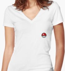 Pixel Art Pokéball Women's Fitted V-Neck T-Shirt