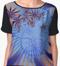 Floral Impression in Blue Chiffon Top