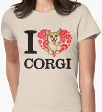 I Love Corgi White T-shirt Womens Fitted T-Shirt