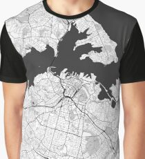 Auckland Map Gray Graphic T-Shirt