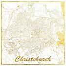 Christchurch Karte Gold von HubertRoguski