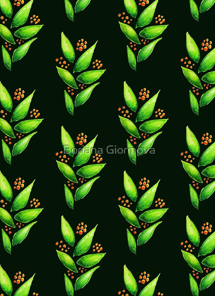 Abstract Watercolor Green Plant With Orange Berries Pattern by Boriana Giormova