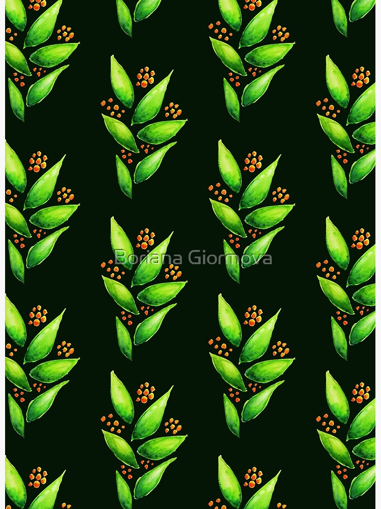 Abstract Watercolor Green Plant With Orange Berries Pattern