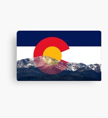 Pikes Peak Colorado Flag Canvas Print