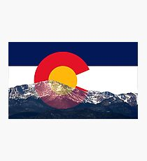 Pikes Peak Colorado Flag Photographic Print