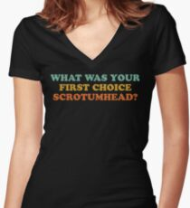 What Was Your First Choice Scrotumhead? Women's Fitted V-Neck T-Shirt
