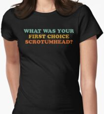 What Was Your First Choice Scrotumhead? Womens Fitted T-Shirt