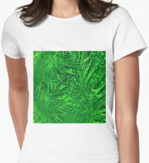 Abstract green dynamic fractal texture Womens Fitted T-Shirt