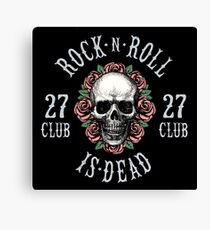 Rock is Dead, Human Skull with Roses Design Canvas Print
