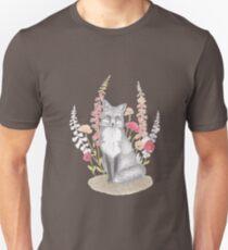 fox in foxgloves on pastel pink background Unisex T-Shirt