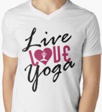 Live, Love, Yoga Mens V-Neck T-Shirt